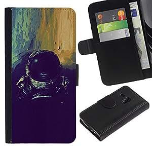 LASTONE PHONE CASE / Lujo Billetera de Cuero Caso del tirón Titular de la tarjeta Flip Carcasa Funda para Samsung Galaxy S3 MINI NOT REGULAR! I8190 I8190N / devushka kosmos shlem