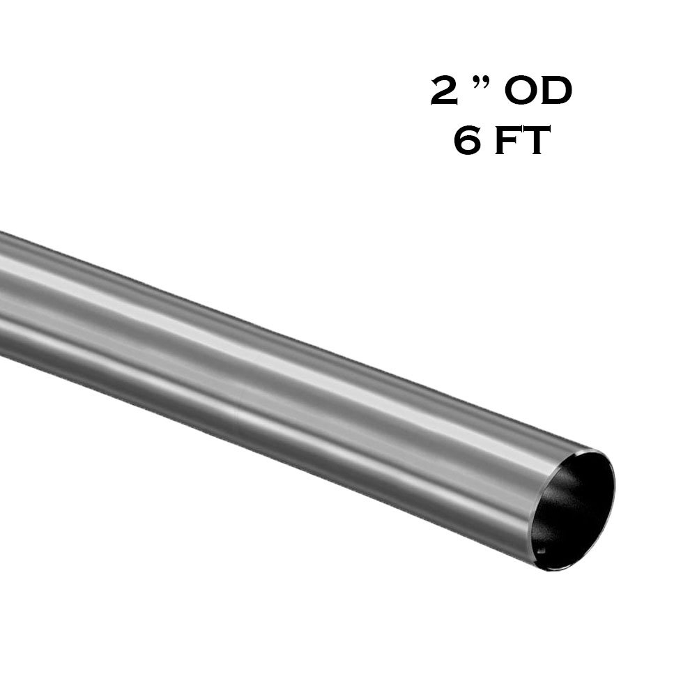 2'' OD - 6 ft- Bar Foot Rail Tubing - Brushed Stainless Steel 304 Grade - 16 Gauge (Custom Order) by Top Hardware