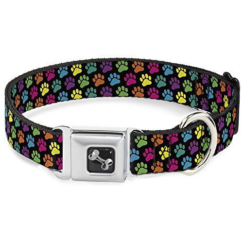 Buckle Down Dog Collar Bone - Paw Print Black/Multi Color - Large 15-26