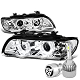 2001 bmw x5 headlights unit - BMW E53 X5 Pair of 3D Crystal Halo Projector Chrome Housing Headlights + H1 LED Conversion Kit W/ Fan