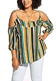 Debshops Womens Plus Size Stripe Cold Shoulder Blouse 3XL Multicolor