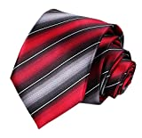 Men Classic Red Grey Silk Clip on Ties Events Formal Wedding Necktie Ideal Gift