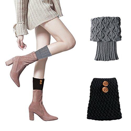 Christmas Women Short Socks Warm Winter Leg Warmers Kintted Buttons Boot Cover