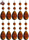 Cheap Royal Designs Replacement Chandelier Crystal Prism Amber K9 Quality Tear Drop Almond Cut with Chrome Connectors and 2 Amber Octogan Crystal Beads Pack of 10
