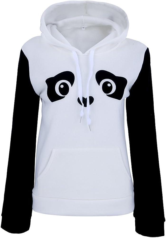 Clasichic Damen Mädchen Panda Druck Hoodie Pullie sportlich
