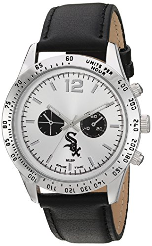 White Chicago Watch Sox Game (Game Time Men's 'Letterman'  Metal and Leather Quartz Analog Watch, Color:Black (Model: MLB-LET-CWS))
