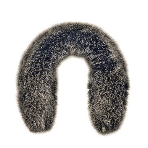 Futrzane Trim Hood Faux Fake Fur Hood Winter for Jacket Ski Collar Wrap Shawl (L, Siberian Gray)