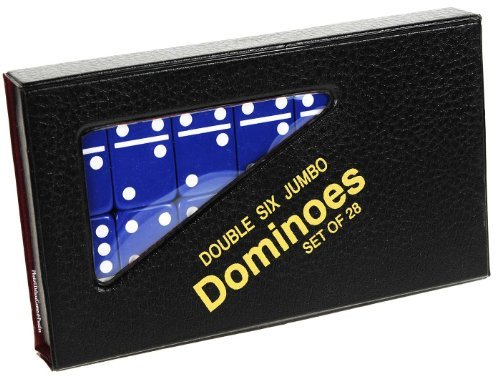 White Colored Dominoes - Dominoes Jumbo BLUE with White Pips _ Double Six Set of 28 dominoes