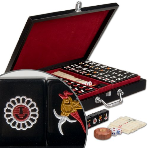 "Chinese Mahjong (Mahjongg, Mah Jongg, Mah-Jongg, Majiang) Travel Game Set with Jet Black Tiles, ""Jet Set"", Small by Yellow Mountain Imports"
