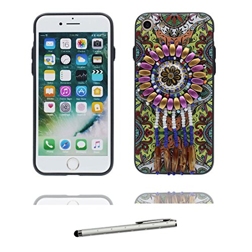 "iPhone 6 6s Coque Cover, 3D fleur Bead accessoire, TPU Flexible Unique Designed Style national iPhone 6 Étui iPhone 6S Case 4.7"" Poussière Poof & stylet Fashionable"