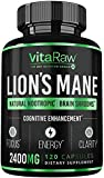 Organic Lions Mane Mushroom Capsules (2400mg | Powerful Nootropic) Brain Mushroom Supplement for Focus & Immune Support Pure Lion's Mane Mushroom Powder Extract - Brain Booster Memory & Energy Pills