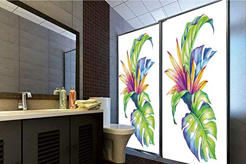 """Horrisophie dodo No Glue Static Cling Glass Sticker,Plant,Tropical Leaves and Monstera with Abstract Color Scheme Hawaiian Floral Elements Decorative,Multicolor,39.37"""" H x 23.62"""" W for Home&Office"""