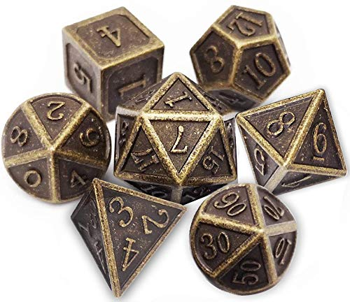 UONUOT 7pcs DND Metal Dice Set with Black Pouches D&D Polyhedral Dice for Dungeons and Dragons Role Playing Dice Games RPGs