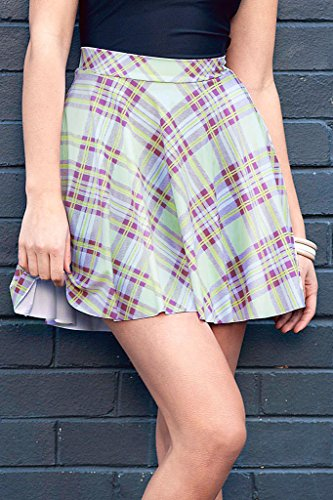 Plaid Skirt - Women Stretchy Printed Pleated Skater Mini Skirts Plus Size by TOFLY (XXXX-Large, Green)