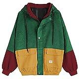 HHei_K Women Stitching Coat, Ladies Fashion Patchwork Long Sleeve Corduroy Oversize Jacket Windbreaker Cardigan Overcoat (3XL, Wine)