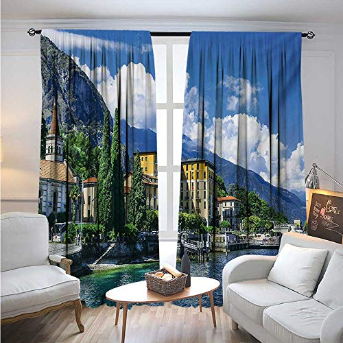 ItalyBlackout DrapesThe Panoramic Landscape of Lake Como Mountains and Clouds Digital Image PrintBlackout Curtains Room Darkening Thermal Insulated W96 x L108 Blue and Green
