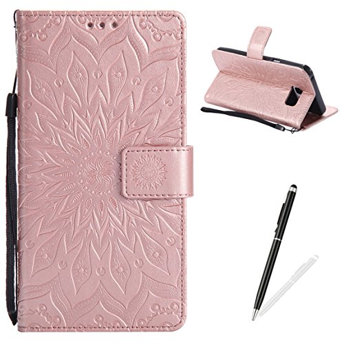 (MAGQI Samsung Galaxy Note 5 Case Anti-Scratch Slim Fit Cover, Embossed Mandala Sunflower Serise Luxury Soft PU Leather Stand Vintage Retro Wristlet Flip Wallet Card Slots Skin Shell - Rose Gold)