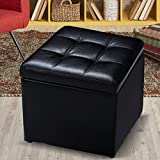 Giantex Cube Ottoman Pouffe Storage Box Lounge Seat Footstools with Hinge Top (Black)
