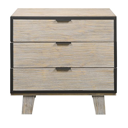 Emerald Home Synchrony Washed Tan Nightstand with Three Drawers And Metal Trim