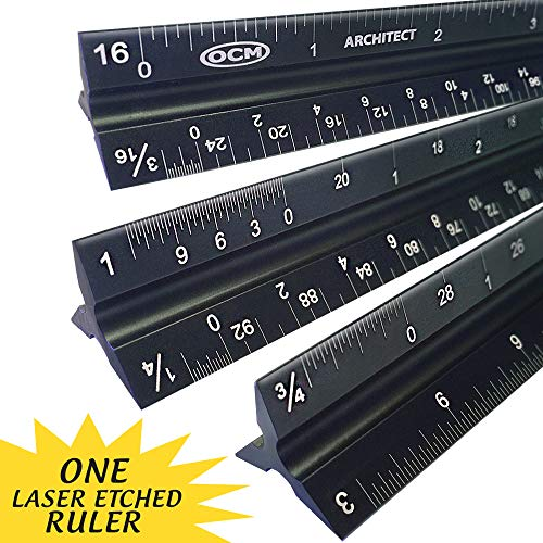 OCM 1 Laser Etched Architect - 12 inch Anodized Triangular Architect Imperial Scale Ruler (Professional Grade Solid Extruded Aluminum) Imperial Scale Architectural Engineering Drafting Ruler