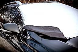 HOLAUTO — All Weather Windshield Cover — Reversible Windshield Snow Cover & Sun Shade — Safe on Glass & Car Paint — Windproof Magnetic Edges Attach in Seconds — No Installation Necessary