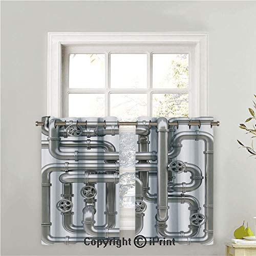 (Kitchen Tier Curtains Casual Weave Cafe Curtains Short Curtains for Bathroom Half Window Curtains,2 Panels,Maze of Pipelines Faucets and Valve Gasoline Engineering Themed Print Decorative,42