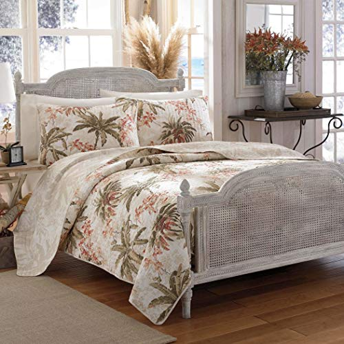 3 Piece Tan Palm Tree Quilt Full Queen Set, All Over Tropical Ocean Hawaiian Flower Trees Costal Island Bedding, Multi Floral Beach Paradise Exotic Flowers Themed, Leaf Green Beige Salmon Coral Pink