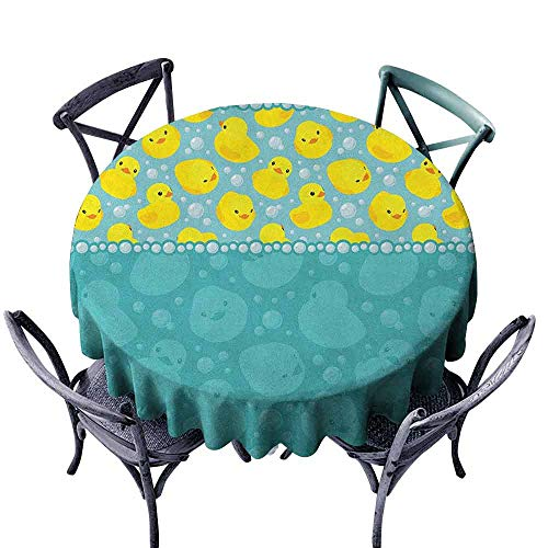 ScottDecor Microfiber Round Tablecloth Table Cover Rubber Duck,Yellow Cartoon Duckies Swimming in Water Pattern with Fun Bubbles Aqua Colors, Teal Blue Diameter 36