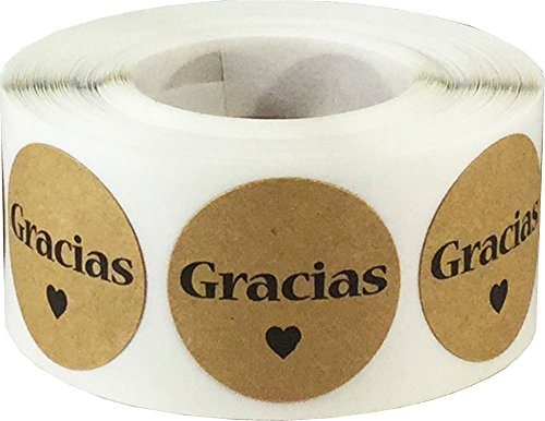 Dots Spanish - Gracias Spanish Thank You Natural Kraft Adhesive Stickers 1 Inch Round Circle Dots 500 LabelsPer Roll