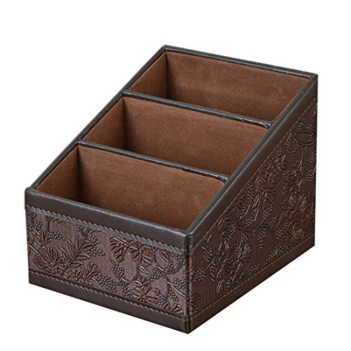 Polkar 3 Slot Compartments Multifunctional PU Leather Desktop Storage Office Desktop Organizer Remote Control Holder/remote control caddy (Retro (Flannel Retro Flowers)