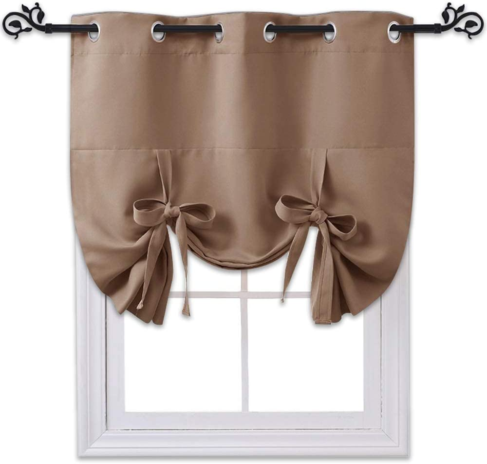 NICETOWN Thermal Insulated Balloon Curtain - Tie Up Shade Panel for Small Window (Grommet Top, 46 inches W x 63 inches L, Cappuccino)