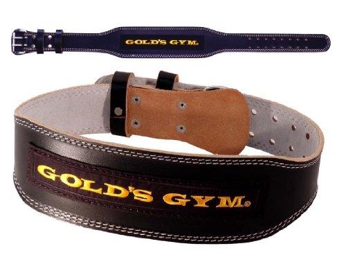 GOLDS GYM ゴールドジム ブラックレザーベルト G3367 ウエイトトレーニングベルト M(85-100cm)