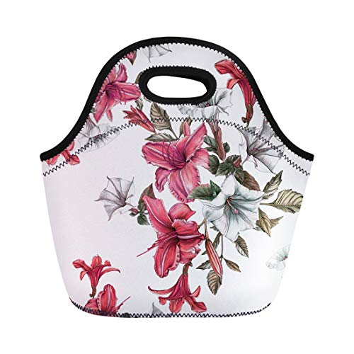 Semtomn Neoprene Lunch Tote Bag Colorful Botanical Floral Watercolor Daylilies and Datura Flower Red Reusable Cooler Bags Insulated Thermal Picnic Handbag for Travel,School,Outdoors,Work