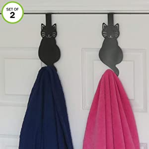 Evelots Over The Door Hook Hangers-Black Cat-Towel/Jacket-Hold 20 Lbs-Iron-Set/2