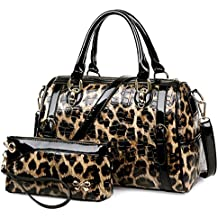 Leopard Print Glossy Bowler Boston Multipurpose Handbags With Wristlet Purse