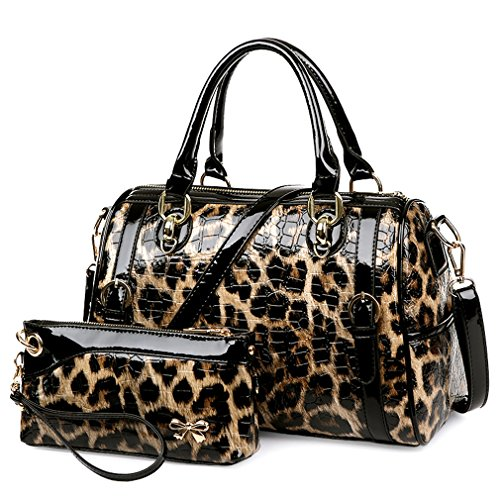Leopard Print Glossy Bowler Boston Multipurpose Handbags With Wristlet Purse (Handbag Leather Bowler)