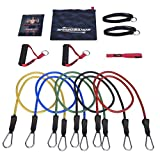 Number 1 RATED - Resistance Bands - 11pc Set - Superior Door Anchor Attachment - Ankle Strap for Legs Workout & Carry Case - Heavy Duty Anti-Snap Technology - Bonus 20 Fat Burning Workouts Ebook