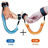 Anti Lost Wrist Link Baby Child Safety Harness Strap Rope Leash Walking Hand Belt Wristband, KPACO Wrist Straps Anti-lost Hand Belt Straps for Toddlers, Babies and Kids (4.9ft Orange + 8.2ft Blue)