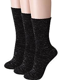 Women's Glitter Metallic Yarn Crew Socks 3 Pairs