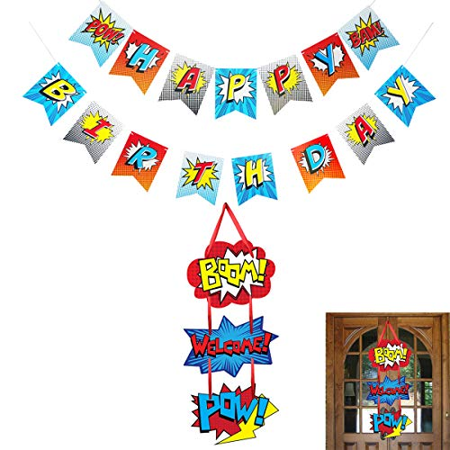 Superhero Birthday Party Supplies Kits, Happy Birthday Banner Garland, Welcome Hanger for Baby Kids Shower Theme Parties Decoration