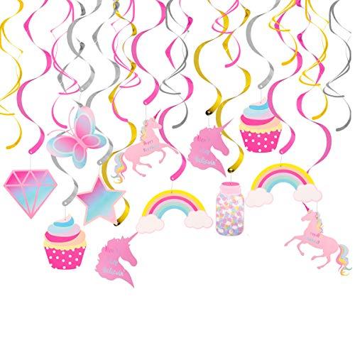 Unicorn Party Decorations 30 Hanging Swirl - Rainbow