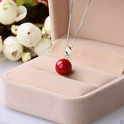 New 14mm Natural Coral Red South Sea Shell Pearl Round Pendant Necklace Pearl Coral Pendant