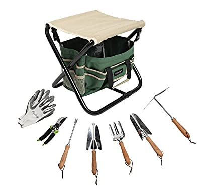 Finnhomy 9 Piece Garden Seat Tool Set with 5 Chrome Plated Garden Tools, 1 Pruning Shears, 1 Heavy Duty Folding Stool, 1 Tote Bag and 1 Work Glove