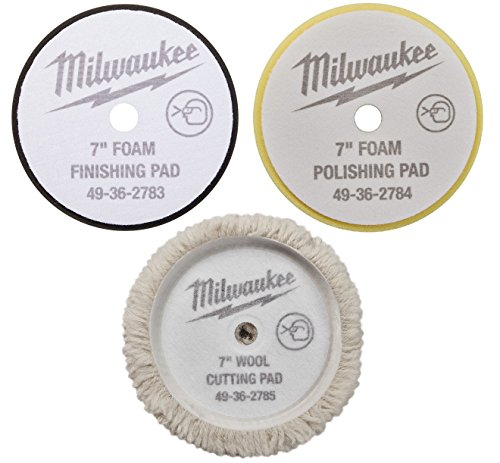 (7'') - NEW - Cutting Polishing and Finishing Pad Kit 49-36-2783,2784,2785 for Milwaukee M18 Polisher (2738) by Milwaukee Electric Tool