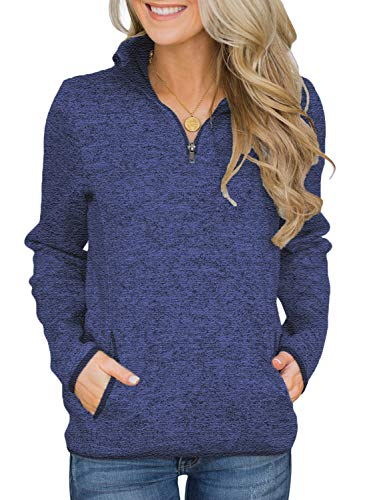 AlvaQ Womens Casual Winter Long Sleeves Collar Quarter 1/4 Zip Fleece Pullover Sweatshirts with Pockets Blue Medium -