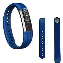 For Fitbit Alta,Haoricu Soft Silicone Watch band Wrist strap+ HD Protective Film (Blue 1)