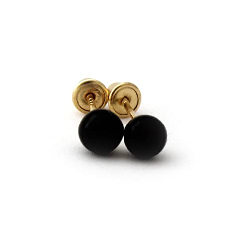 fd2033146 Sterling Silver Round Black Simulated Onyx Ball Stud Earrings with Baby Safe  Screwbacks - 3mm