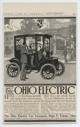 1912 Ohio Electric Car Toledo OH Auto Ad Motz Cushion Tires from Ohio Electric