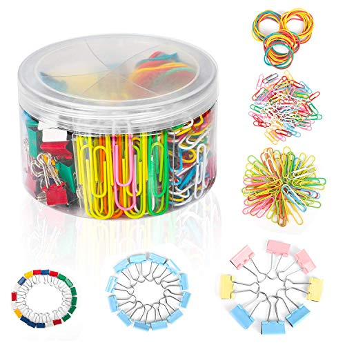 JamBer Assorted Colored Binder Clips, Paper Clips, Rubber Bands, Paper Clips Jumbo, Paper Clips Small, Binder Clips Small, Binder Clips Medium, Binder Clips Mini, Paper Clamps, Foldback Clips