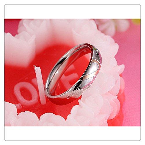 Diamond Eternal Love Band (Couple Ring, Women Men Love Heart Shape Promise Band Ring for Lover Wedding Jewelry for Valentine's Day Gift By Litetao (SL10- Female))